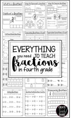 Everything you need for teaching fractions in 4th grade is right here!! This resource includes activities for comparing fractions, finding equivalent fractions, fractions on a number line, plus adding, subtracting, and multiplying fractions.