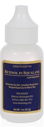 Retinol in Squalane  Retinyl palmitate enhances the moisturizing action of squalane and helps visibly increase skin thickness, restoring a supple and vibrant skin complexion. Lipids such as squalane compose 15% of skin fats in the teenage years but decline to about 5% after age 50. This is a major factor in the skin becoming rough, dry, and vulnerable to damage. acts as a penetrating agent to nourish dry skin areas. This product should not be confused with Retin-A (retinoic acid)