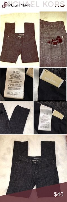 "Michael Kors Embellished Dark Jeans SZ.4 B3-71-SGW8 - Michael Kors Jeans Size 4 - Item Description Nice casual jeans Maker/Markings Michael Kors Tag Size Size 4 / Condition: Excellent; no stains or holes /Approximate Measurements: Shoulder to Shoulder: Length:41"" Waist:30"" Inseam:33"" Color Black Fabric/Material Cotton Cleaning Instructions Machine Wash Cold Michael Kors Jeans Skinny"