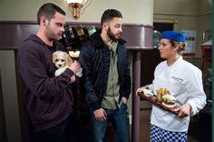 Aaron Livesy (Danny Miller), Adam Barton (Adam Thomas) & Victoria Sugden (Isabel Hodgins) (January 2015)