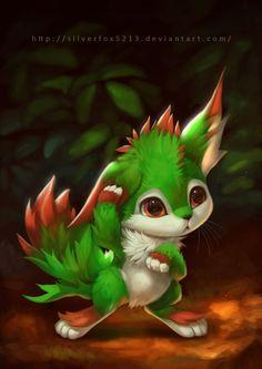 Da-Un, a creature with pattern resembling autumn leaves. Da-Un Cute Fantasy Creatures, Mythical Creatures Art, Cute Creatures, Magical Creatures, Cute Animal Drawings, Cute Drawings, Anime Animals, Cute Animals, Creature Drawings