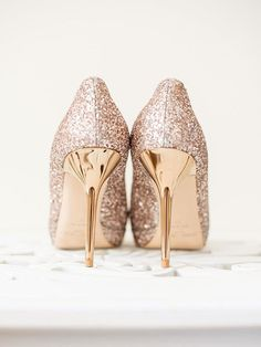 Put a party on your feet with glittery stiletto wedding shoes that put  Cinderella s glass heels a7e694ee3