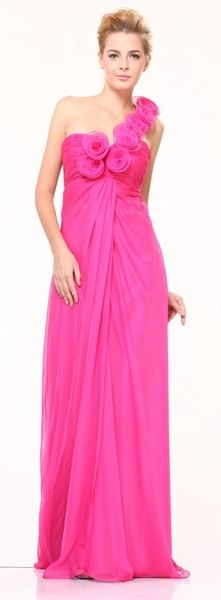 Cheap Rosettes One Shoulder Chiffon Pageant Occasion Evening Prom Dress Hot Pink) Hot Pink Dresses, Lovely Dresses, Beautiful Gowns, Summer Dresses, Only Fashion, Pink Fashion, Women's Fashion, Mode Top, Pageant Dresses