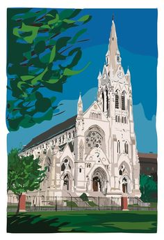 #STL artist Mark Hurd created two prints of campus,  featuring #DuBourg Hall and St. Francis Xavier #CollegeChurch that benefit #SLU scholarship funds. From $50 to $185.