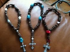 Handamde coffee beans rosaries with tagua,coral,semiprecious stones,turqouise,pewter,metal