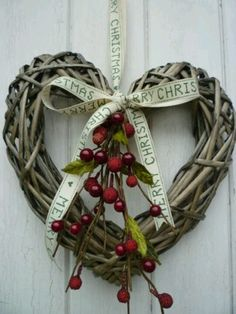 Christmas Heart Wreath with ribbon and holly