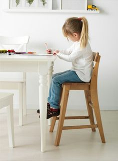 ikea ingolf junior chair allows 5yr old to be at same level as adults at