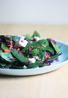 warm winter salad with roasted garlic dressing