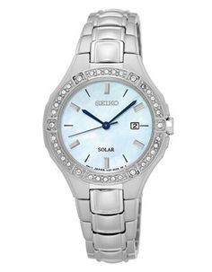 Seiko Womens Solar Crystal Sport Watch - Mother of Pearl Dial - Bracelet - Date