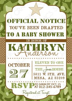 Boys Baby Shower Invitation Army by SassyGraphicsDesigns on Etsy