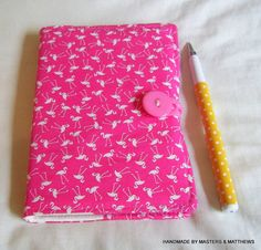 A6 Notebook A6 Lined Journal Flamingo Fabric by Mastersandmatthews