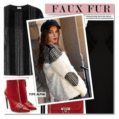 """""""Keep it Cozy - Studded Faux Fur Jacket"""" by typealpha ❤ liked on Polyvore featuring Yves Saint Laurent, Balenciaga, Alexander McQueen, Clarins and Valentino"""