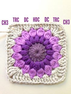Crochet Granny Squares Blanket AnnieColors: Sunburst Granny Square Pattern, thanks so xox Point Granny Au Crochet, Granny Square Pattern Free, Crochet Motifs, Granny Square Crochet Pattern, Crochet Blocks, Crochet Squares, Crochet Afghans, Free Pattern, Granny Square Tutorial