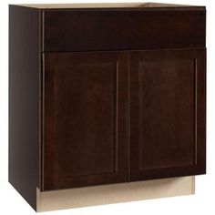 Hampton Bay 30x34.5x24 in. Shaker Sink Base Cabinet in Java-KSB30-SJM at The Home Depot $206