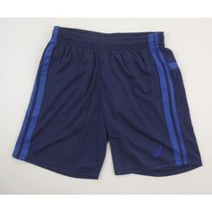 Asics Performance Essentials Men's Navy Shorts  Stay cool with the Asics performance essentials shorts. Made with a lightweight fabric. The shorts come in navy and blue. The Asics logo can be found on the leg in blue.