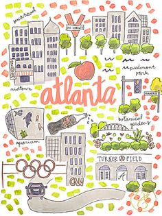 Evelyn Henson's map series is intended to help you celebrate all the places you love. Each map print is printed on high quality rag paper with archival inks. Atlanta Map, Atlanta Travel, Atlanta Georgia, Visit Atlanta, Atlanta Skyline, Atlanta Attractions, Evelyn Henson, Image Deco, Georgia On My Mind