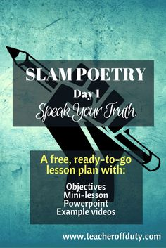 Perfect lesson to introduce kids to how to write slam poetry--or even just to challenge them to write poetry that MATTERS. Would be perfect to jumpstart a unit or push kids to go deeper.