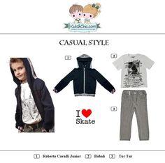 #Casual #look for #boys from #RobertoCavalli #Junior #Boboli #TucTuc. Discover at: www.kidsandchic.com/boy   #boysclothing #boysfashion #kidsfashion #trendychildren #kidsclothing #toddlerclothes #shoponline #shoppingbarcelona #hoodie #tshirt #jeans #denim