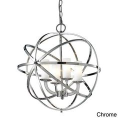 Z-Lite Aranya Chrome Pendant Light Modern/Contemporary White Glass Pendant Light at Lowe's. Orbiting metal bands circle the contemporary inner chandelier. This family is made up of round and oval shapes finished in Chrome finishes complimented Chrome Pendant Lighting, Glass Globe, Candle Globes, Filament Design, Modern Pendant Light, Glass Pendants, Globe Pendant Light, Pendant Lighting, Chrome Chandeliers