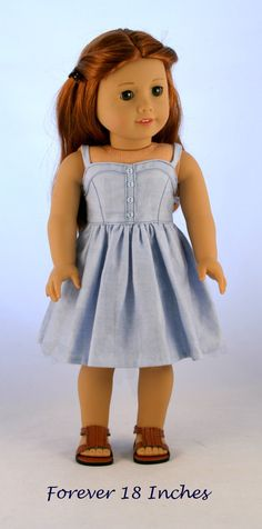Sundress in Blue Chambray by Forever18Inches on Etsy $28.00