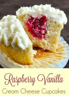 Raspberry Vanilla Cream Cheese Cupcakes. Moist, tender vanilla cupcakes filled with raspberry compote and topped with rich, luscious cream cheese frosting.
