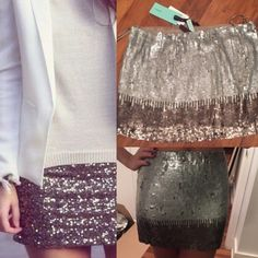 Sequin mini skirt Gorgeous! Sequin ombré mini skirt- all the sequin was placed by hand! Never worn and new with tags. Awesome for this upcoming holiday season sexy with a crop top or later with a blazer and thigh high boots!! jaloux Skirts Mini