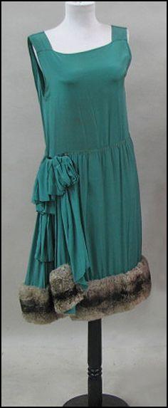 GREEN SILK SLIP DRESS WITH FUR TRIM CIRCA 1926