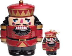 The traditional guardian of good luck and goodwill, this limited edition, numbered 2014 Nutcracker is an iconic symbol of Christmas. Sharply dressed in opulent shades of red, black, and gold, a warmer dish is cleverly hidden inside his cap. This spirited sentry is paired with a matching 8 cm Christmas ornament to adorn your tree or holiday decorations for years to come!