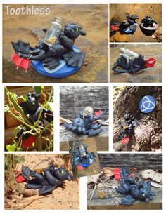 Another Toothless sculpture and stand, made with super sculpey and acrylic paint.