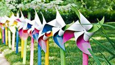 Row of painted pinwheels. Easy #DIY