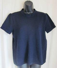 ST. JOHN Separates Women's Navy Blue Santana Knit Short Sleeve Sweater L Large #StJohn #Crewneck