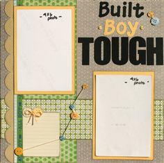 Premade Scrapbook Page 12 x 12 Boy Layout - Built Boy Tough.