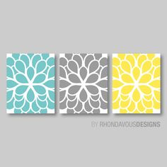 Teal Blue Yellow Gray Dahlia Flower Print by RhondavousDesigns2, $20.00