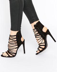 faf291b8031b Public Desire Anina Caged Strap Heeled Sandals at asos.com