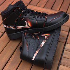 @customsneakerdude burnin' it up with #JacquardPaints 🔥 Custom Jordans, Custom Sneakers, Custom Shoes, Vans Sneakers, Cute Nike Shoes, Cute Nikes, Jordan Shoes Wallpaper, Nike Presto, Sneaker Art