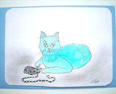 Très jolie carte dessinée et son enveloppe de couleur assortie Sac à malice et pelote de laine. : Cartes par matt-et-les-petits-cadeaux