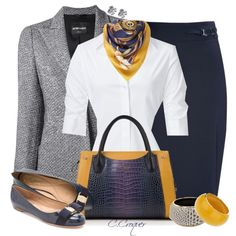 """Navy&Grey With Flats"" by ccroquer on Polyvore"
