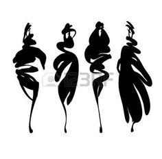 black plus size women/models Fashion Illustration Sketches, Fashion Sketches, Illustration Art, Silhouette Mode, Fashion Silhouette, Black And White Drawing, Black And White Abstract, Fashion Graphic, Fashion Art