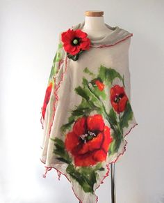 Knit Linen shawl, Grey jersey stole , Natural linen poncho, felted scarf, Red Poppy flower, Natural flax