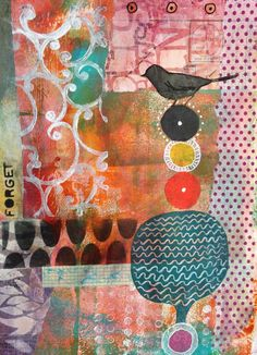 Mixed Media Art Journal page by Mary Beth Shaw using products from StencilGirl stencils and Viva Las VegaStamps.