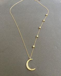Star Necklace Vermeil Gold Crescent moon necklace I by Yoga Jewelry, Cute Jewelry, Silver Jewelry, Moon Necklace, Star Necklace, Jewelery, Jewelry Necklaces, Unique Necklaces, Mother Daughter Jewelry