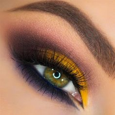 Yellow and purple eye makeup - LadyStyle Purple Eye Makeup, Eye Makeup Tips, Makeup Inspo, Makeup Art, Makeup Inspiration, Beauty Makeup, Hair Makeup, Makeup Ideas, Sexy Makeup