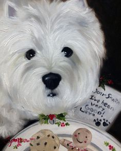 Westie West Highland Terrier Holiday Christmas Cookies Dog Art by Mary Sparrow of Hanging the Moon Studio