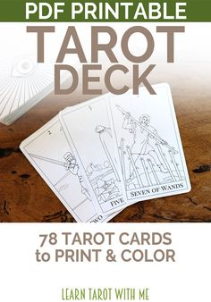 78 tarot cards - 4 per page to print at 8.5 x 11 inches - Three PDF files to download & print immediately - Each card measures 3.5 x 5 - 300 dpi resolution - Backs of cards not included - choose your own!  These downloadable and printable tarot cards includes 78 tarot cards (ALL 22 of the Major Arcana, and ALL of the Minor Arcana - the Cups, the Pentacles, the Swords, and the Wands cards.  The images are simplified versions of the original 1909 tarot cards created by Arthur Edward Waite ...