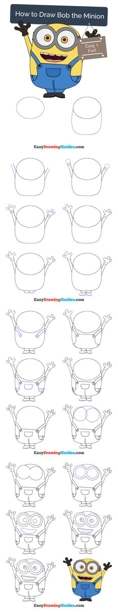 Learn How to a Minion: Easy Step-by-Step Drawing Tutorial for Kids and Beginners. #minion #drawing. See the full tutorial at https://easydrawingguides.com/how-to-draw-bob-the-minion/