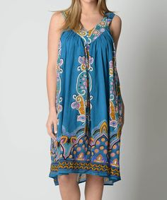 Another great find on #zulily! Blue Paisley V-Neck Midi Dress #zulilyfinds