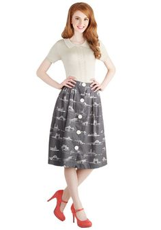 Shore to Shore Skirt by Bea & Dot - Cotton, Woven, Long, Grey, Buttons, Work, Casual, Vintage Inspired, 50s, Better, Grey, White, Novelty Pr...