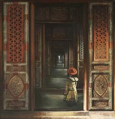 Kai Fine Art is an art website, shows painting and illustration works all over the world. Chinese Courtyard, Chinese Buildings, China Architecture, Chinese Furniture, Futuristic Art, China Art, Environment Concept Art, Ancient China, Traditional Art
