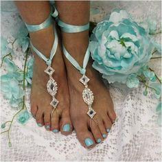 barefoot sandals - blue -tiffany- wedding- foot jewelry - crystals - diamante