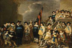 Kloveniers civic guards of District V led by Captain Cornelis de Graeff and Lieutenant Hendrick Lauwrensz painted by Jacob Adriaensz Backer (1642)